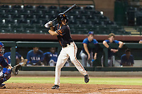 AZL Giants Black second baseman Marcos Campos (15) at bat during an Arizona League game against the AZL Rangers at Scottsdale Stadium on August 4, 2018 in Scottsdale, Arizona. The AZL Giants Black defeated the AZL Rangers by a score of 6-3 in the second game of a doubleheader. (Zachary Lucy/Four Seam Images)
