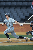 Justin Lebek (7) of the Davidson Wildcats follows through on his swing against the Wake Forest Demon Deacons at David F. Couch Ballpark on May 7, 2019 in  Winston-Salem, North Carolina. The Demon Deacons defeated the Wildcats 11-8. (Brian Westerholt/Four Seam Images)