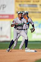 Vermont Lake Monsters shortstop Jesus Lage (2) turns a double play during a game against the Tri-City ValleyCats on June 16, 2018 at Joseph L. Bruno Stadium in Troy, New York.  Vermont defeated Tri-City 6-2.  (Mike Janes/Four Seam Images)