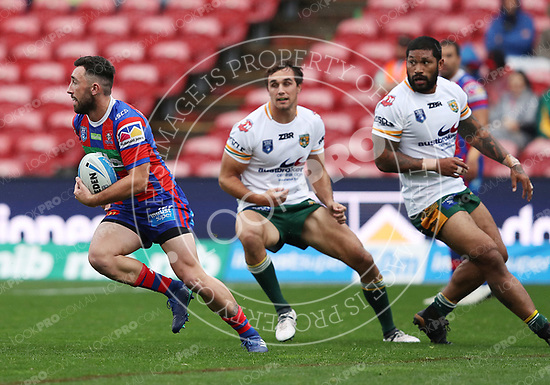 The Newcastle Knights play Wyong Roos in Round 14 of the Intrust Super Premiership at McDonald Jones Stadium on 9th of June, 2018 in Broadmeadow, NSW Australia. (Photo by Paul Barkley/LookPro)
