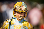 SARATOGA SPRINGS, NY- AUGUST 04: Irad Ortiz jr. at Saratoga Racecourse on August 4, 2018 in Saratoga Springs, New York.(Photo by Alex Evers/Eclipse Sportswire)