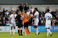 The referee speaks to Barnet's Curtis Weston and Swansea's Martin Olsson after a second half altercation during Barnet vs Swansea City, Friendly Match Football at the Hive Stadium on 12th July 2017