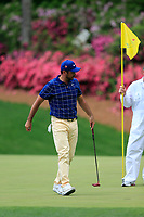 Jason Day (AUS) on the 13th green during the 1st round at the The Masters , Augusta National, Augusta, Georgia, USA. 11/04/2019.<br /> Picture Fran Caffrey / Golffile.ie<br /> <br /> All photo usage must carry mandatory copyright credit (&copy; Golffile | Fran Caffrey)