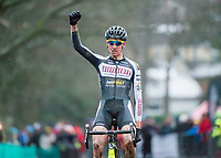 Picture by Allan McKenzie/SWpix.com - 10/12/17 - Cycling - HSBC UK National Cyclo-Cross Championships - Round 5, Peel Park - Bradford, England - Braam Merlier (Steylaerts-Betfirst) takes his first victory in the National Cyclo-Cross championships at Bradford.