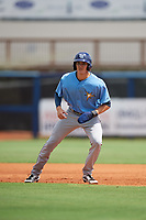 Tampa Bay Rays Beau Brundage (67) leads off first base during a Florida Instructional League game against the Baltimore Orioles on October 1, 2018 at the Charlotte Sports Park in Port Charlotte, Florida.  (Mike Janes/Four Seam Images)
