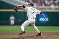 Florida State Seminoles pitcher CJ Van Eck (15) delivers a pitch to the plate against the Michigan Wolverines in Game 6 of the NCAA College World Series on June 17, 2019 at TD Ameritrade Park in Omaha, Nebraska. Michigan defeated Florida State 2-0. (Andrew Woolley/Four Seam Images)