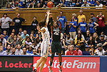 24 February 2012: Miami's Shenise Johnson (42) shoots over Duke's Allison Vernerey (FRA) (left). The Duke University Blue Devils defeated the University of Miami Hurricanes 74-64 at Cameron Indoor Stadium in Durham, North Carolina in an NCAA Division I Women's basketball game.