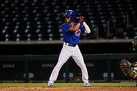 AZL Cubs 1 Ezequiel Pagan (1) at bat during an Arizona League game against the AZL Athletics Gold at Sloan Park on June 20, 2019 in Mesa, Arizona. AZL Athletics Gold defeated AZL Cubs 1 21-3. (Zachary Lucy/Four Seam Images)