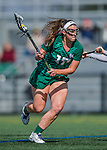 30 March 2016: Manhattan College Jasper Attacker Stefanie Ranagan, a Senior from Yorktown Heights, NY, in action against the University of Vermont Catamounts at Virtue Field in Burlington, Vermont. The Lady Cats defeated the Jaspers 11-5 in non-conference play. Mandatory Credit: Ed Wolfstein Photo *** RAW (NEF) Image File Available ***