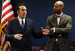 Actor Nicholas Cage and Nevada Sen. Aaron Ford, D-Las Vegas, talk to lawmakers at the Legislative Building Carson City, Nev., on Tuesday, May 7, 2013. Cage testified in support of Ford's measure proposing tax incentives to filmmakers..Photo by Cathleen Allison