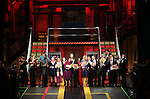 Kathleen Marshall, Kristen Anderson-Lopez,  James-Allen Ford, Sara Wordsworth, and Russ Kaplan with the cast during the Broadway Opening Night Performance Curtain Call for 'In Transit' at Circle in the Square Theatre on December 11, 2016 in New York City.