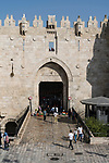 The Damascus Gate on the north side of the Old City of Jerusalem.  The Old City of Jerusalem and its Walls - UNESCO World Heritage Site