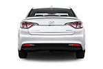 Straight rear view of 2017 Hyundai Sonata-Hybrid Hybrid 4 Door Sedan Rear View  stock images