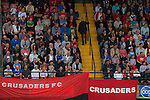 Crusaders 1 Fulham 3, 16/07/2011. Seaview Park, Europa League 2nd qualifying round first leg. Crusaders supporters watching the action during the second half at Seaview Park, Belfast as the Northern Irish club take on Fulham in a UEFA Europa League 2nd qualifying round, first leg match. The visitors from England won by 3 goals to 1 before a crowd of 3011. Photo by Colin McPherson.