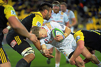 Victor Vito tackles Damien McKenzie during the Super Rugby semifinal match between the Hurricanes and Chiefs at Westpac Stadium, Wellington, New Zealand on Saturday, 30 July 2016. Photo: Dave Lintott / lintottphoto.co.nz