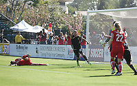 Christine Sinclair scores. Washington Freedom defeated FC Gold Pride 4-3 at Buck Shaw Stadium in Santa Clara, California on April 26, 2009.