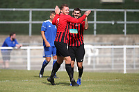 Gavin Cockman of Saffron Walden scores the first goal for his team and celebrates during Redbridge vs Saffron Walden Town, Essex Senior League Football at Oakside Stadium on 7th September 2019
