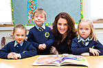 Teacher Stephanie Egan on her first day of school on Tuesday with her  junior infants in Loughquittane NS Killarney l-r: Sophie O'Shea, Aaron Hegarty, Meadbh O'Brien.