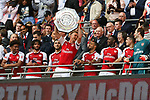 Rob Holding of Arsenal lifts the Shield after the The FA Community Shield match at Wembley Stadium, London. Picture date 6th August 2017. Picture credit should read: Charlie Forgham-Bailey/Sportimage
