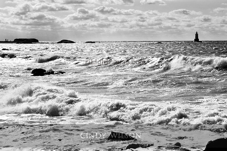 A blustery wind churned up the sea at Lloyd's beach, Little Compton.