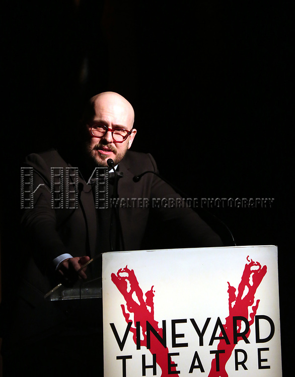 Rob Askins on stage at the Vineyard Theatre 2017 Gala at the Edison Ballroom on March 14, 2017 in New York City.