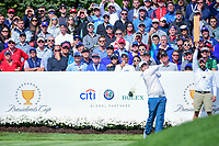 Brandon Grace (RSA) watches his tee shot on 4 during round 3 Four-Ball of the 2017 President's Cup, Liberty National Golf Club, Jersey City, New Jersey, USA. 9/30/2017.<br /> Picture: Golffile | Ken Murray<br /> <br /> All photo usage must carry mandatory copyright credit (&copy; Golffile | Ken Murray)