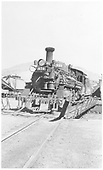 Front 3/4 view of K-28 #470 on turntable in Durango.<br /> D&amp;RGW  Durango, CO  Taken by Denney, J. W. Jr. - early 1940