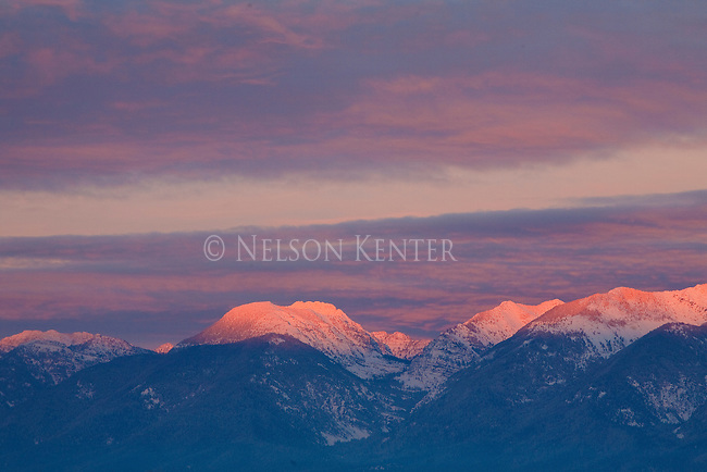 Late evening sunlight on the peaks of the Mission Mountains in western Montana.