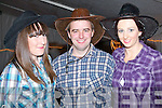 DRESSED UP; Fiona mcGillycuddy, (Beaufort) James O'Connor (castlemaine) and Denise dennehy (Beaufort) who had a great time at the kerry Macra na Ferime fund raising barn dance at Tochar Bán, Kilmoyley on saturday night.