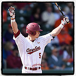 Center fielder TJ Hopkins (5) of the South Carolina Gamecocks has been named Collegiate Baseball and SEC Player of the Week. Here he prepares to bat against the Clemson Tigers on Saturday, March 2, 2019, at Fluor Field at the West End in Greenville, South Carolina. Clemson won, 11-5. (Tom Priddy/Four Seam Images)