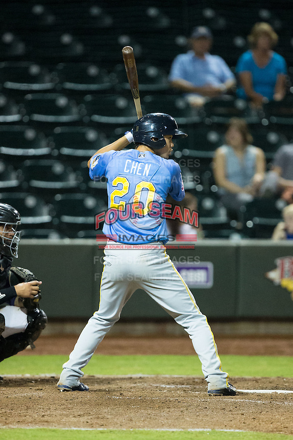 Pin-Chieh Chen (20) of the Myrtle Beach Pelicans at bat against the Winston-Salem Dash at BB&T Ballpark on August 20, 2015 in Winston-Salem, North Carolina.  The Dash defeated the Pelicans 5-4 on a walk-off wild pitch in the bottom of the 9th inning.  (Brian Westerholt/Four Seam Images)