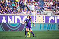 Orlando, Florida - Sunday, May 8, 2016: Orlando Pride defender Kristen Edmonds (12) heads the ball during a National Women's Soccer League match between Orlando Pride and Seattle Reign FC at Camping World Stadium.