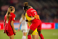 CARSON, CA - FEBRUARY 07: GK Stephanie Labbe #1, Kadeisha Buchanan #3 and the Canadian national team celebrate during a game between Canada and Costa Rica at Dignity Health Sports Complex on February 07, 2020 in Carson, California.