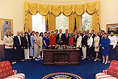 United States President Bill Clinton and US Vice President Al Gore meet with the board of Mothers Against Drunk Drivers (MADD) in the Oval Office of the White House in Washington, DC on June 5, 1998<br /> Mandatory Credit:  Robert McNeely / White House via CNP