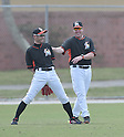 (L-R) Ichiro Suzuki, Mike Redmond (Marlins),<br /> FEBRUARY 25, 2014 - MLB :<br /> Ichiro Suzuki of the Miami Marlins talks with manager Mike Redmond during the Miami Marlins spring training camp in Jupiter, Florida, United States. (Photo by AFLO)
