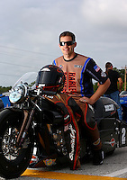 Sept. 1, 2013; Clermont, IN, USA: NHRA pro stock motorcycle rider Andrew Hines during qualifying for the US Nationals at Lucas Oil Raceway. Mandatory Credit: Mark J. Rebilas-