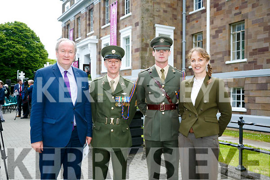 Cllr Jim  Finucane,  Irish Defence Forces, Sergeants Locke and Lavelle with Kate Kennelly at the rededicated to Thomas Ashe at a ceremony hosted by Kerry County Council on Monday