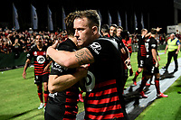 28th February 2020; Netstrata Jubilee Stadium, Sydney, New South Wales, Australia; A League Football, Sydney FC versus Western Sydney Wanderers; Simon Cox of Western Sydney Wanderers celebrates after playing in his first derby game after Western Sydney win 1-0