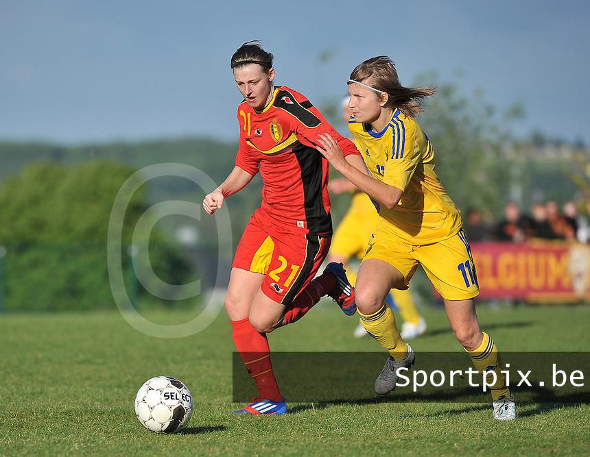 Belgium - Ukraine : Yana Daniels (21) en Valeriia Aloshycheva (11)<br /> foto DAVID CATRY / Nikonpro.be