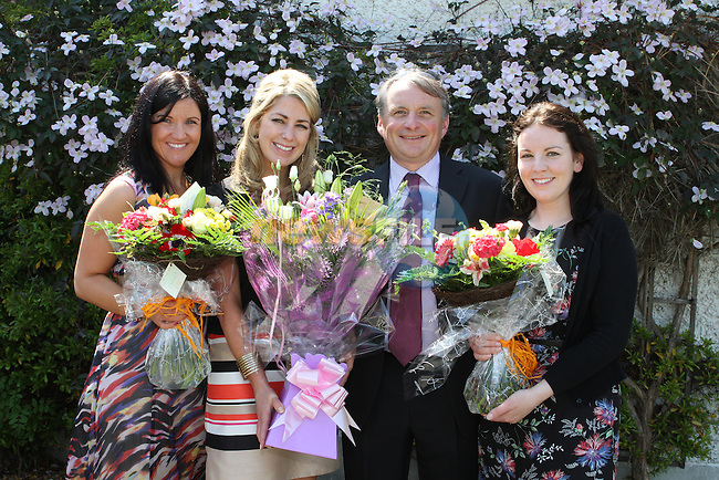 Principal, Mr Collins with teachers, Claire McCloskey, Lorraine Carter, Sheena Duffy at the Termonfeckin NS Communion...(Photo Jenny Matthews/www.newsfile.ie)