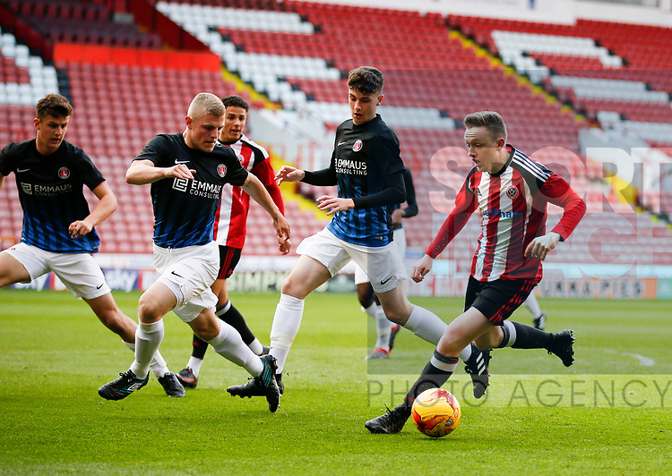 Jordan Hallam of Sheffield Utd in action during the U18 Professional Development League 2 play off semi final match at  Bramall Lane, Sheffield. Picture date: April 21st 2017. Pic credit should read: Simon Bellis/Sportimage