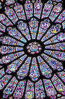 Notre Dame. Interior view of the North Rose Window made of stained glass
