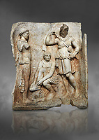 Roman Sebasteion relief  sculpture of Meleager and Atalante  Aphrodisias Museum, Aphrodisias, Turkey. Against a grey background.<br /> <br /> Meleager sits on a rock tying his sandal. Below him lies a fierce hunting dog with a broad collar. On one side a god or another hero wearing a rounded hat was crowning Meleager ( arm missing). On the other side stands the huntress Atalante, Meleager&rsquo;s lover: she wears a short dress and quiver, and lifts her cloak at the shoulder in a gesture of modesty.