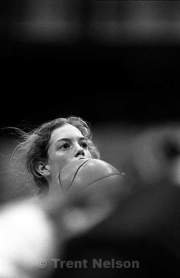 Marci Ernsberger shooting a free throw at Campolindo vs. Bear River basketball (NorCal Championship game)<br />