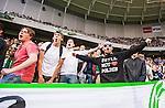 Stockholm 2014-06-18 Fotboll Superettan Hammarby IF - GAIS :  <br /> Hammarbys supporter med en T-shirt med texten Still not love the police<br /> (Foto: Kenta J&ouml;nsson) Nyckelord:  Superettan Tele2 Arena Hammarby HIF Bajen GAIS supporter fans publik supporters