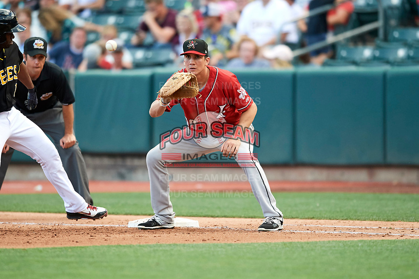 Jordan Patterson (10) of the Albuquerque Isotopes on defense against the Salt Lake Bees in Pacific Coast League action at Smith's Ballpark on June 10, 2017 in Salt Lake City, Utah. The Isotopes defeated the Bees 4-2. (Stephen Smith/Four Seam Images)