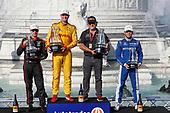 Will Power, Team Penske Chevrolet, Ryan Hunter-Reay, Andretti Autosport Honda, Michael Andretti, Scott Dixon, Chip Ganassi Racing Honda, podium