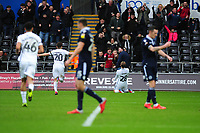 George Byers (centre) of Swansea City celebrates scoring the opening goal during the Sky Bet Championship match between Swansea City and Millwall at the Liberty Stadium in Swansea, Wales, UK. Saturday 09 February 2019