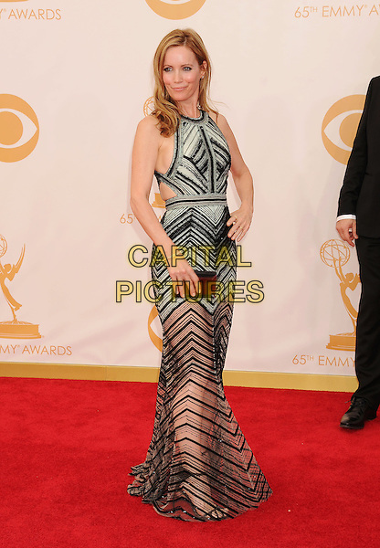Leslie Mann<br /> arrives at the 65th Annual Primetime Emmy Awards at Nokia Theatre L.A. Live in Los Angeles, California, USA, <br /> September 22nd 2013. <br /> emmys arrivals  full length sheer black striped grey gray sleeveless dress hand on hip clutch bag <br /> CAP/ROT/TM<br /> &copy;TM/Roth Stock/Capital Pictures