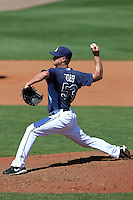 Tampa Bay Rays pitcher Alex Cobb #53 delivers a pitch during a spring training game against the Baltimore Orioles at the Charlotte County Sports Park on March 5, 2012 in Port Charlotte, Florida.  (Mike Janes/Four Seam Images)